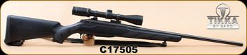 """Consign - Tikka - 6.5x55Swedish - T3 Lite - LH - Black Synthetic/Blued, 22.4""""Barrel, c/w Burris Fullfield 2 3-9x40mm, Ballistic Plex, Leather sling - has original box"""