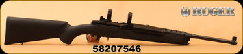 "Consign - Ruger - 223Rem - Mini 14 Ranch Rifle - Black Hogue Rubber Over-Molded Stock/Blued, 18.5""Barrel, c/w original wood stock, 1"" Rings"