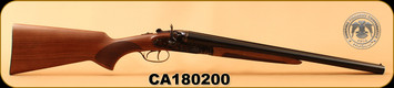 "Huglu - 12Ga/3""/20"" - 201HRZ - Turkish Walnut/Blued barrel/Case Hardened Receiver, Double Trigger, HRZ Hammer, Standard Stock, S/N CA180200"