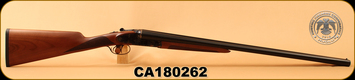 "Huglu - 12Ga/3""/28"" - 201A - SxS - Turkish Walnut English Straight Stock/Engraved Case Hardened Receiver/Blued barrels, Double Trigger, 5pc. Mobile Choke System. S/N CA180262"