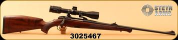 "Consign - Steyr Mannlicher - 30-06Sprg - Luxus - European walnut w/bavarian cheek piece/Mannox finish, 24""Barrel, Leica 2.5-10x50mm, 4A Reticle, with pivot mounts - New - Unfired - in case"