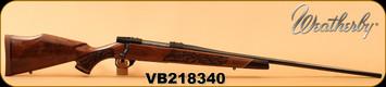 "Weatherby - 257WbyMag - Vanguard Lazerguard - AA-grade Claro Walnut - Lazer engraved w/traditional oak leaf pattern/Blued, 24""Barrel, #2 Contour, Adjustable Match Quality, Two-stage Trigger, 1:10"", Mfg# VGZ257WR6O, S/N VB218340"