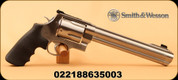 "Smith & Wesson - 500S&Wmag - S&W 500 Revolver - Synthetic Grip w/finger grooves/Satin Stainless Finish, 8.38"" Barrel, 5 Rounds, Fixed Compensator, Mfg# 163500"