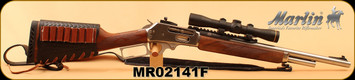 "Consign - Marlin - 45-70Govt - Model 1895GS - Walnut/Stainless, 18""Barrel, c/w Leather Stock Cover/Cartridge Carrier, Sling, rail, peep sight, Leupold FX-II Scout 2.5x28mm Scope - < 40 Rounds"