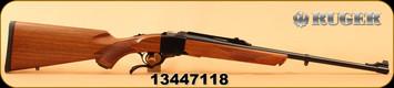 "Consign - Ruger - 7mm-08Rem - No.1A Light Sporter - Walnut/Blued, 22""Barrel, Alexander Henry Forearm, Open sights, Quarter Rib scope base, c/w Ruger rings - only 40rds - In original box"