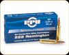 PPU - 222 Rem - 50 Gr - SP - 20ct - PP222
