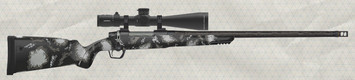 """Gunwerks - 7mmRemMag- ClymR - Halo Brown Carbon Fiber Stock/SS, Graphite Carbon Wrapped 22""""Barrel - Leupold 5-25x56 RH1 MOA non-III - Photo for stock colour reference only - does not represent exact firearm - See Product Description for details"""