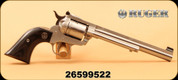 """Used - Ruger - 22LR/22Mag - New Model Single Six Convertible Revolver - Black Laminate Grips/Satin Stainless Steel Finish, 7-1/2"""" Barrel, 6 Rounds, Mfg # 00662"""