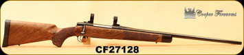 """Consign - Cooper - 275Rigby - Model M52 Custom Classic - Select NZ Walnut w/Ebony Tip/High Polished Blued, 24""""Barrel, Inlaid Swivels, Steel Grip Cap, Decelerator Butt Pad, Talley Lightweights 1"""" rings - Low rounds"""
