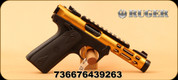 "Ruger - 22LR - Mark IV 22/45 Lite - Semi-Auto - Checkered 1911-style Polymer Grips/Gold Anodized, 4.4""Threaded Barrel, Mfg# 43926"