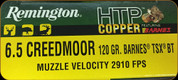 Remington - 6.5 Creedmoor - 120 Gr - High Terminal Performance Copper - Barnes Triple Shock-X Boat Tail - 20ct - 27716