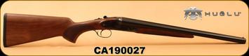 "Huglu - 12Ga/3""/20"" - 200AC - SxS Single Trigger - Turkish Walnut/Case Hardened Receiver w/hand engraving/Blued Barrels, 5pc. Mobile Choke, SKU# 8681715399676, S/N CA190027"