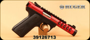 "Used - Ruger - 22LR - Model 22/45 Lite - Black Checkered, 1911-style grip panels/Red Anodized, 4.4""Barrel, Unfired - In Ruger soft case"