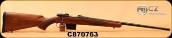 "CZ - 6.5Grendel - 527 American - Bolt Action Rifle - Turkish Walnut Stock/Blued, 24"", 5rd detachable magazine, Integrated 16mm Scope Base, Mfg# 03088, S/N C870730"