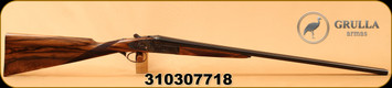 """Grulla - 28Ga/2.75""""/27"""" - Model 216RB - Double Trigger SxS - Round Body Action - Select Turkish Walnut Straight Grip Stock w/Silver Oval fitted on stock/Hand Engraved Case Hardened Finish/Blued, Leather case - Hand-made in Spain, w/canvas cover"""