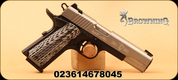 """Browning - 380ACP - 1911-380 Black Label Pro Stainless FS - Semi Auto Pistol - Grooved black/white G10 composite grips/Two Tone Stainless/Black Finish, 4.25"""" Barrel, 8 Rounds, Night Sights , Mfg# 051926492"""