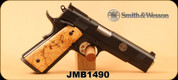 "Consign - Smith & Wesson - 45ACP - Model SW1911 - First Generation Performance Center - Custom Ironwood Grips/Black Melonite Finish, 5"" Barrel, Adjustable Sights, Mfg# 170243, c/w original Wood Grips, 4 mags, 2 mag pouches, RH Mini Scabbard"