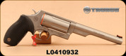 """Taurus - 410 3""""/45LC - Judge Magnum - Double Action Revolver - Ribbed Rubber Grip/Matte Stainless Steel Finish, 6.5""""Barrel, 5 Round cylinder, Fixed Red Fiber Optic Front Sight, Mfg# 2441069MAG - Unfired Showroom Model"""