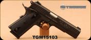 "Taurus - 9mm Luger - PT1911 - Single Action - Semi Automatic Pistol - Checkered Black Grips/Taurus Blue Steel Finish, 5"" Barrel, Novak Sights, Mfg# 11911019 - Unfired, Showroom Model"