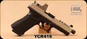 "Consign - Glock - 9mm - G17 Black Box Custom - Black grips w/'The Works'stippling/Titanium Cerakote slide, 5"" Threaded Barrel, Slide porting, Tri-top cut/Optic Cut, Only 50 rounds fired, c/w Trijicon RMR, 3.25 MOA dot, 2 magazines - In original case"