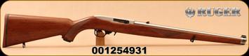 """Ruger - 22LR - 10/22 Carbine - Semi-Auto Rifle - Walnut Mannlicher Stock - 18.5"""" Stainless Steel Barrel - 10rd magazine, Mfg# 1264, S/N 001254931"""