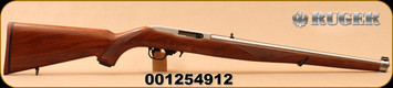 """Ruger - 22LR - 10/22 Carbine - Semi-Auto Rifle - Walnut Mannlicher Stock - 18.5"""" Stainless Steel Barrel - 10rd magazine, Mfg# 1264, S/N 001254912"""