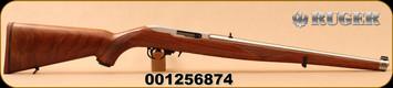 """Ruger - 22LR - 10/22 Carbine - Semi-Auto Rifle - Walnut Mannlicher Stock - 18.5"""" Stainless Steel Barrel - 10rd magazine, Mfg# 1264, S/N 001256874"""