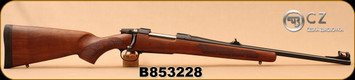 "CZ - 6.5x55Swedish - 557 Carbine - Bolt Action Rifle - Oil-Finished Turkish Walnut stock with cheekpiece/Blued, 20.5""Barrel, 4rd Hinged Floorplate, 1:8.6""Twist, Fiber Optic Front Sight, Mfg# 04854, S/N B853228 - Small scratches near front sight"