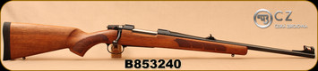 "CZ - 6.5x55Swedish - 557 Carbine - Bolt Action Rifle - Oil-Finished Turkish Walnut stock with cheekpiece/Blued, 20.5""Barrel, 4rd Hinged Floorplate, 1:8.6""Twist, Fiber Optic Front Sight, Mfg# 04854, S/N B853240"