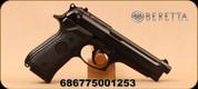 "Beretta - 9mm - 92FS - Semi-Auto Pistol - Black Finish/Bruniton Coating, 4.9""Chrome-Lined Barrel, (2) 10 Round magazines, Mfg# J92F300"