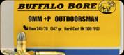 Buffalo Bore - 9mm Luger+P - 147 Gr - Outdoorsman - Hard Cast Flat Nose - 20ct - 24L