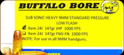 Buffalo Bore - 9mm Luger - 147 Gr - Subsonic Heavy Standard Pressure Low Flash - Jacketed Hollow Point - 20ct - 24I