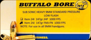 Buffalo Bore - 9mm Luger - 147 Gr - Subsonic Heavy Standard Pressure Low Flash - Full Metal Jacket Flat Nose - 20ct - 24J