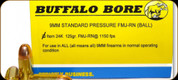 Buffalo Bore - 9mm Luger - 125 Gr - Standard Pressure - Full Metal Jacket Round Nose Ball - 20ct - 24K