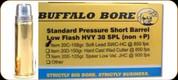 Buffalo Bore - Heavy 38 Special - 158 Gr - Standard Pressure Short Barrel Low Flash - Soft Cast Lead Semi-Wadcutter Hollow Point Gas Check - 20ct - 20C