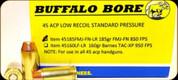 Buffalo Bore - 45 ACP - 185 Gr - Low Recoil Standard Pressure - Full Metal Jacket Flat Nose - 20ct - 45185FMJFNLR