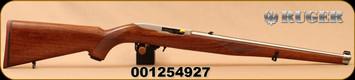 """Ruger - 22LR - 10/22 Carbine - Semi-Auto Rifle - Walnut Mannlicher Stock - 18.5"""" Stainless Steel Barrel - 10rd magazine, Mfg# 1264, S/N 001254927"""