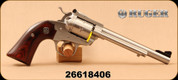 """Used - Ruger - 22LR - Blackhawk Bisley - Single Six Revolver - Hardwood Grips/Stainless, 6.5""""Barrel, Mfg# 0680 - In original case"""