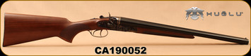 "Huglu - 12Ga/3""/20"" - 201HRZ - Turkish Walnut/Blued barrel/Case Hardened Receiver, Double Trigger, HRZ Hammer, Standard Stock, SKU# 8681715392202, S/N CA190052"