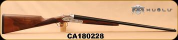 "Huglu - 410Ga/3""/26"" - 201A - SxS Double Trigger - Turkish Walnut English Straight Stock/Silver Receiver w/Gold inlay birds/Blued barrels, SKU# 8681744308830, S/N CA180228"