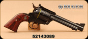 "Used - Ruger - 357Mag/9mm - Blackhawk Flattop - Single Action Revolver - Wood Grips/XR-3 Gripframe/Blued, 5.5""Barrel - In original case - Only 10 rounds fired on 357 cylinder, 9mm cylinder unused"