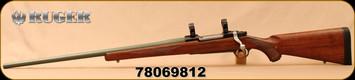 "Used - Ruger - 300WM - M77 Mark II Standard - LH - Walnut Stock/Green Painted, 24""Barrel, Hinged Floorplate, 1""Rings"