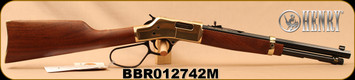 "Henry - 357Mag/38Spl - Big Boy Carbine - Large Loop Lever Action Rifle - American Walnut Stock/Polished Hardened Brass Receiver/Blued, 16.5"" Octagon Barrel, 7 Rounds, Mfg# H006MR, S/N BBR012742M"