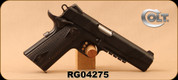 "Consign - Colt - 45ACP - 1911 Gov't Rail Gun - SA Semi-Auto - Double Diamond Blackened Wood Grips/Black Frame, 5""Barrel,  Mfg# 01980RG - Low Rounds fired - In orginal box"