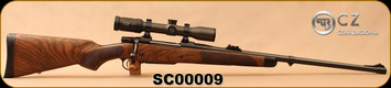 "Consign - CZ - 375H&H - Safari Classics II - luxury oiled walnut stock w/ebony tip/Matte DLC Finish, 25""hammer forged, proached barrel - Only 25 rounds fired, c/w Zeiss Duralyt 1.2-5x36, #4 Reticle - In original Hard Case"