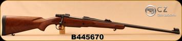 "CZ - 375H&HMag - Model 550 Magnum Standard - Select Turkish Walnut/Blued, 25""Barrel, 3-leaf express sights, 5rd Hinged Floorplate, Single Set Trigger, 1:12""Twist, S/N B445670"
