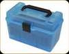 MTM - Case Gard - H50 Deluxe Ammo Box - 7mm Rem Mag - 300 Win Mag - Clear Blue - H50-R-MAG-24