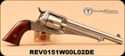 """Taylor's & Co - 45LC - Uberti - Taylor Tuned 1875 Army Outlaw White Engraved Finish - Single Action Revolver - Walnut Grips/Photo Engraved,White Heat-Treated Steel, 7.5""""Barrel, Mfg# 0151W00L02DE"""