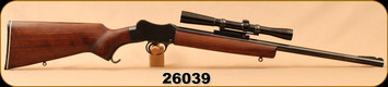 "Consign - Sportco - 22K Hornet - Martini - Walnut Stock/Blued, 20.6""Barrel, c/w Redfield 2X Scout scope, Crosshairs reticle"