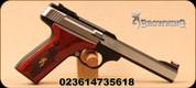 "Browning - 22LR - Buck Mark - Medallion Rosewood - Semi-Auto Pistol - Laminated Rosewood Grips/Blackened stainless steel slab side, 5.5"" Bull barrel, Pro-Target adjustable rear sight, Mfg# 051543490"